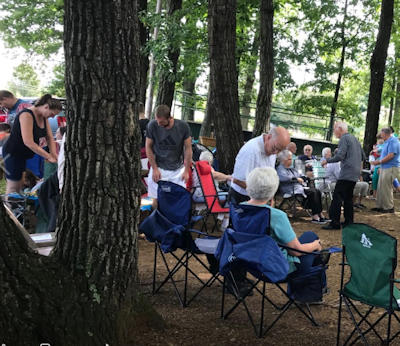 Zion Congregational Picnic - 2018 - worship service outdoors