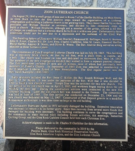 Historic Commemorative Plaque for Zion Lutheran Church, Glen Rock, PA